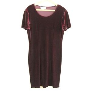 Vintage 90s Burgundy Scoop Neck Velvet Dress L